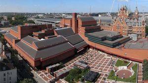 The British Library in London, with St. Pancras station in the background.