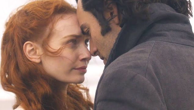 Aidan Turner and Eleanor Tomlinson as Ross Poldark and Demelza
