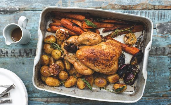Traditional pot-roasted chicken.