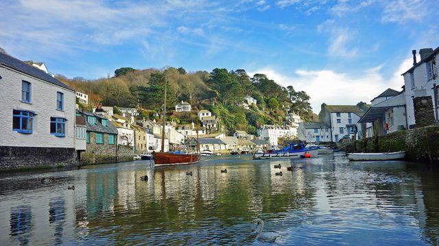 The fishing Harbor of the Cornish village of Polperro, England, UK