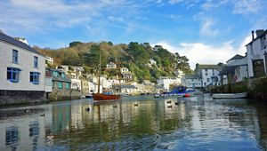 The fishing Harbor of the Cornish village of Polperro, England, UK