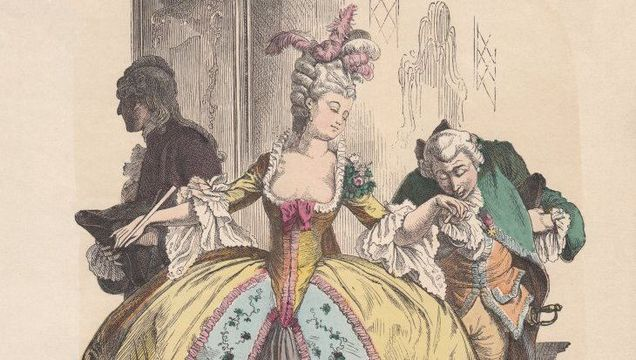 Lady in hoop skirt, rococo era, c. 1780. Hand colored wood engraving, published c. 1880.