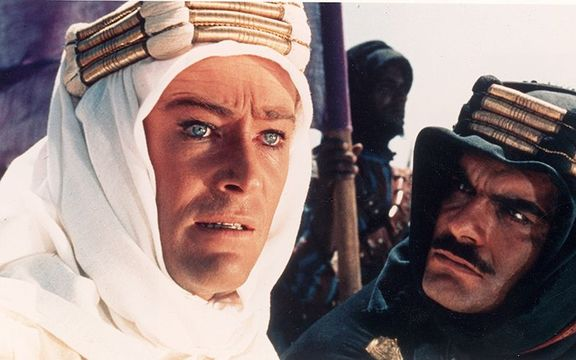 Peter O\'Toole and Omar Sharif in Lawrence of Arabia.