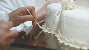 A close up detail of Prince William and Kate Middleton\'s wedding cake, from 2011.