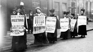 Members of the suffrage movement protest for the right to vote.