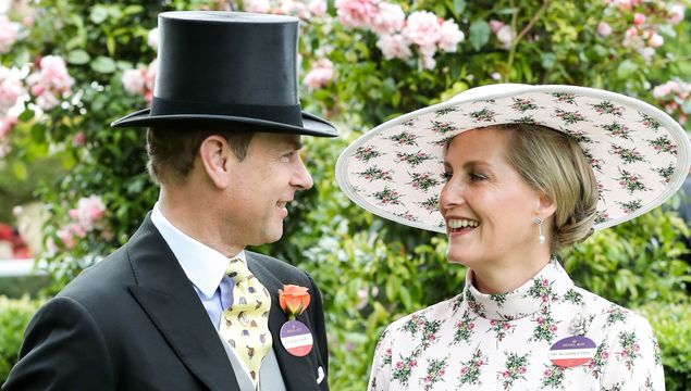 Prince Edward, Duke of Wessex and Sophie, Countess of Wessex pose for photographs ahead their 20th wedding anniversary on day one of Royal Ascot at Ascot Racecourse on June 18, 2019 in Ascot, England