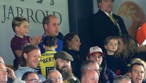 Prince George of Cambridge, Prince William, Duke of Cambridge and Catherine, Duchess of Cambridge and Princess Charlotte of Cambridge are seen in the stands during the Premier League match between Norwich City and Aston Villa at Carrow Road on October 05, 2019 in Norwich, United Kingdom. (Photo by Stephen Pond/Getty Images)