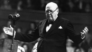 World War II British Prime Minister Sir Winston Churchill (1874 - 1965).
