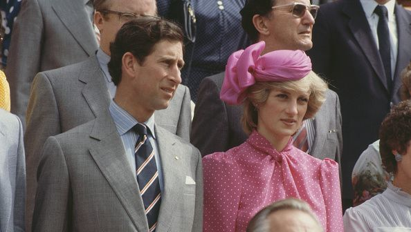 Prince Charles and Diana, Princess of Wales (1961 - 1997) at the Perth Hockey Stadium in Bentley, Perth, Western Australia, 7th April 1983. Diana is wearing a pink suit by Donald Campbell. (Photo by Jayne Fincher/Princess Diana Archive/Getty Images)
