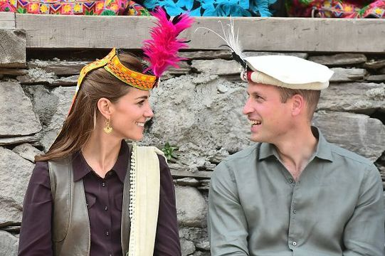 Prince William, Duke of Cambridge and Catherine, Duchess of Cambridge visit a settlement of the Kalash people, to learn more about their culture and unique heritage, on October 16, 2019 in Chitral, Pakistan. Their Royal Highnesses The Duke and Duchess of Cambridge are on a visit of Pakistan between 14-18th October at the request of the Foreign and Commonwealth Office. (Photo by Samir Hussein - Pool/Getty Images)