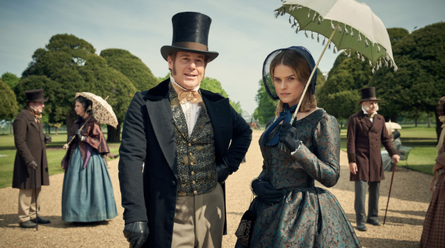 Adam James as John Bellasis, with Alice Eve as Susan Trenchard