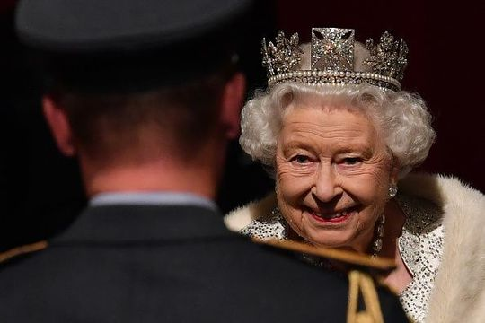 Queen Elizabeth II reacts as she attends the State Opening of Parliament in the Houses of Parliament on October 14, 2019 in London, England. The Queen\'s speech is expected to announce plans to end the free movement of EU citizens to the UK after Brexit, new laws on crime, health and the environment. (Photo by Paul Ellis - WPA Pool/Getty Images)