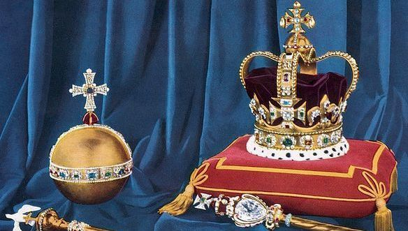 St Edward\'s Crown, the Crown of England, which weighs nearly five pounds, the hollow gold Orb, the Sceptre with the Cross, Sceptre with the Dove, and the Ring