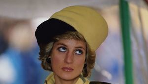 Princess Diana (1961 - 1997) wearing an Escada coat with a hat by Philip Somerville at the naming of the patrol boat Vigilant on the Isle of Wight, December 1989