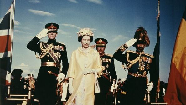 Queen Elizabeth II and Prince Philip with Emperor Haile Selassie I of Ethiopia (1892 - 1975) upon their arrival in Addis Ababa, during a State Visit to Ethiopia, February 1965. (Photo by Keystone/Hulton Archive/Getty Images)