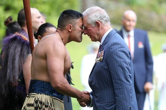 Prince Charles, Prince of Wales receives a Hongi, traditional Maori greeting, as he attends the Ceremony of Welcome, Government House on November 19, 2019 in Auckland, New Zealand. The Prince of Wales and Duchess of Cornwall are on an 8-day tour of New Zealand. It is their third joint visit to New Zealand and first in four years. (Photo by Chris Jackson/Getty Images)