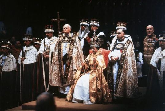 Queen Elizabeth II after her coronation ceremony in Westminster Abbey, London. (Photo by Hulton Archive/Getty Images)
