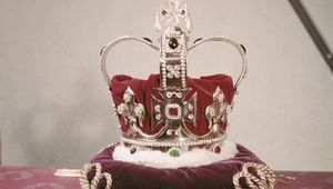 Part of the Crown Jewels of the United Kingdom, UK, circa 1960. Possibly St Edward\'s Crown. (Photo by Archive Photos/Getty Images)