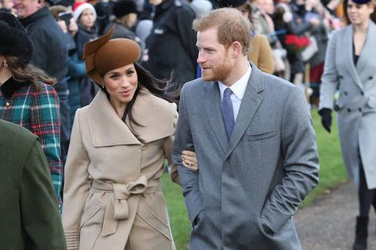 Meghan Markle and Prince Harry attend Christmas Day Church service at Church of St Mary Magdalene on December 25, 2017 in King\'s Lynn, England. (Photo by Chris Jackson/Getty Images)