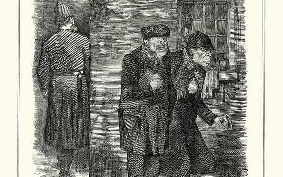 """A magazine illustration from the time for an article on Jack the Ripper, \""""the criminal classes\""""."""