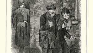 "A magazine illustration from the time for an article on Jack the Ripper, ""the criminal classes\""."