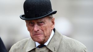Prince Philip, Duke of Edinburgh, (C) in his role as Captain General, Royal Marines, makes his final individual public engagement as he attends a parade to mark the finale of the 1664 Global Challenge, on the Buckingham Palace Forecourt on August 2, 2017 in London, England