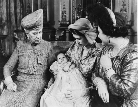 Portrait of Princess Elizabeth holding her baby daughter Princess Anne, with the grandmothers Queen Mary (left) and Queen Elizabeth, following the christening, Buckingham Palace, London, September 1972. (Photo by Central Press/Hulton Archive/Getty Images)