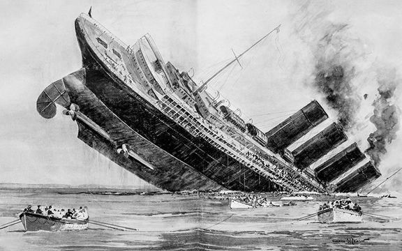 An illustration of the sinking of the RMS Lusitania.
