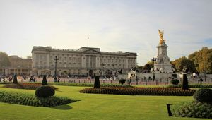 Buckingham Palace, in the heart of London city.