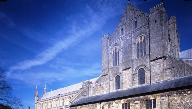 The south transept looks over the site of the medieval monastery's chapter house and dormitory