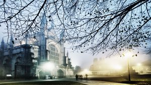 A view of Winchester Cathedral on a winter\'s evening