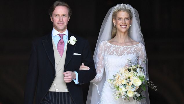 Lady Gabriella Windsor and Thomas Kingston leave after marrying in St George\'s Chapel on May 18, 2019 in Windsor, England.