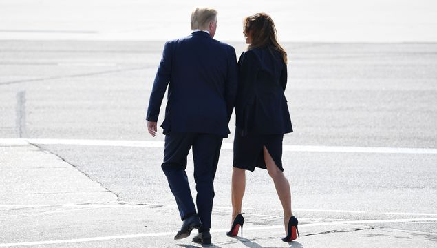 US President Donald Trump and First Lady Melania Trump arrive at Stansted Airport on June 3, 2019 in London, England