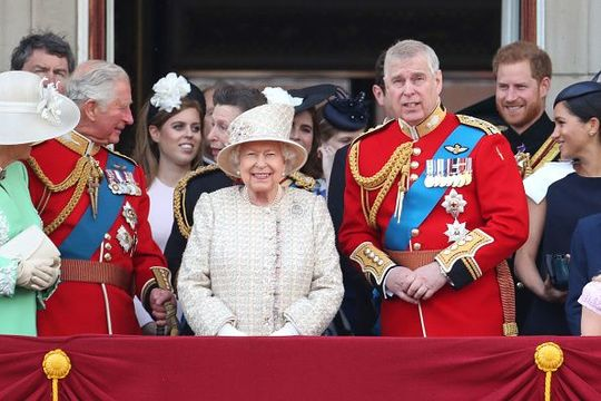 Prince Charles, Prince of Wales, Princess Beatrice, Princess Anne, Princess Royal, Queen Elizabeth II, Prince Andrew, Duke of York, Prince Harry, Duke of Sussex and Meghan, Duchess of Sussex during Trooping The Colour, the Queen\'s annual birthday parade
