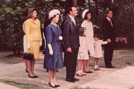 Queen Elizabeth II and Prince Philip with Jackie Kennedy and her children John Jr. and Caroline during the inauguration of Britain\'s Kennedy memorial at Runnymede.