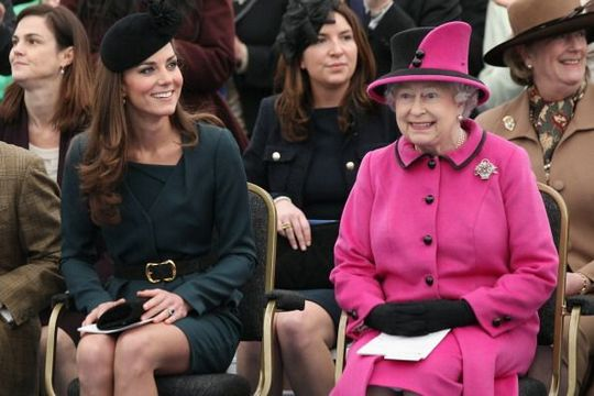 Kate Middleton and Queen Elizabeth.