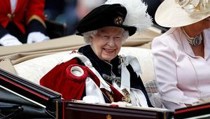 Queen Elizabeth II leaves after the Order of the Garter Service