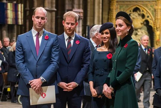 Prince William, Duke of Cambridge and Catherine, Duchess of Cambridge, Prince Harry, Duke of Sussex and Meghan, Duchess of Sussex attend a service marking the centenary of WW1