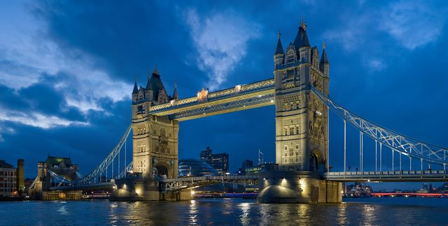 Tower Bridge on the River Thames in London.