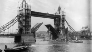 Tower Bridge on the River Thames in London, completed in 1894 with central drawbridge raised to allow passing ships. (Photo by Hulton Archive/Getty Images)