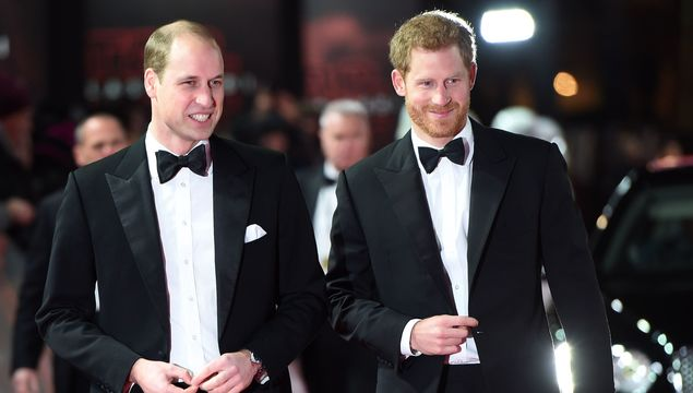 Prince William, Duke of Cambridge and Prince Harry attend the European Premiere of \'Star Wars: The Last Jedi\' at Royal Albert Hall on December 12, 2017 in London.