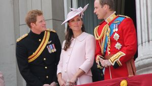 Kate Middleton, aka Catherine, Duchess of Cambridge, photographed between Harry and Prince William in 2013.