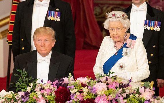 Donald Trump and Queen Elizabeth.