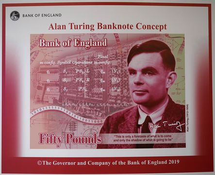 An artists illustration of the Alan Turing 50 GBP bank note unveiled by The Governor of the Bank of England, Mark Carney at the Manchester Science and Industry Museum on July 15, 2019 in Manchester, England. The general public were asked to \'Think Science\' and nominate characters from the field of science for the next £50. Alan Turing was selected from over 200,000 nominations for nearly 1000 eligible scientists. (Photo by Christopher Furlong/Getty Images)