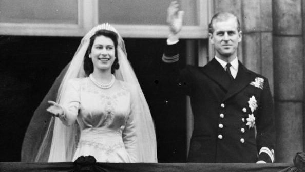 Queen Elizabeth and Prince Philip on their wedding day.