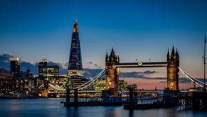 Tower bridge and the sky London skyline at night in London, England