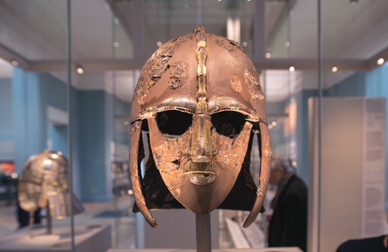 the Sutton Hoo Helmet on display in the new gallery \'Sutton Hoo and Europe AD 300-1100\' in the British Museum on March 25, 2014 in London, England. The exhibition in the museum\'s early medieval collections marks 75 years since the discovery of the Sutton Hoo treasure. The gallery\'s centrepiece are the archelogical finds from the Sutton Hoo ship burial in Suffolk; one of Britain\'s most spectacular and important discoveries.
