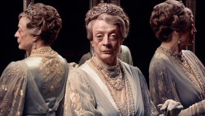 Maggie Smith as Violet, the Dowager Countess of Grantham, photographed on the set of Downton Abbey, at Shepperton Studios, in Surrey