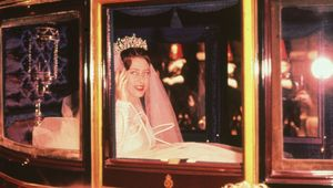 Princess Margaret travelling to her wedding in the Royal Coach