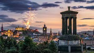 Fireworks over the Edinburgh skyline, as seen from Calton Hill